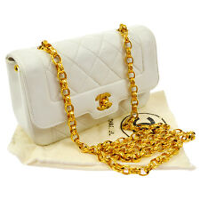 Auth CHANEL Quilted CC Single Chain Shoulder Bag White Leather Vintage RK11942