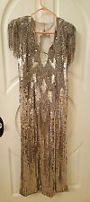 VTG Sequin Originals High End Beaded Stage Dress Gown Drag Queen Gatsby SZ 14-16