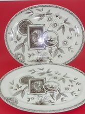 "STAFFORDSHIRE Aesthetic Movement ""PERAK"" Brown Transferware 2 16"" Oval Platters"