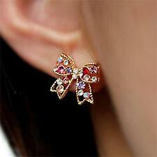 HOT Women 925 Sterling Gold Crystal Rhinestone Ear Stud Earrings Fashion New