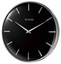 "Bulova 16"" Metro Quartz Satin Pewter Finish Metal Black Dial Wall Clock C4849"