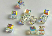 4 SWAROVSKI CRYSTAL ABB 10mm Loose BEADS 5601 CUBES, Bridal/Wedding