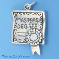 MASTERS DEGREE GRADUATION DIPLOMA 3D .925 Solid Sterling Silver Charm GRADUATE