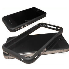 BLACK RUBBER GEL BUMPER SIGNAL PROTECTIVE CASE COVER FOR APPLE iPHONE 4 4S