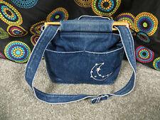 Bag Lady Faded Blue Denim Shoulder/Tote Bag w/Adjustable Strap & Wood Trim