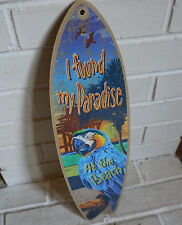 I FOUND MY PARADISE AT THE BEACH PARROT SURFBOARD Surfer Blue Home Decor NEW