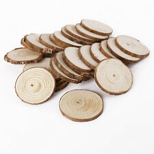 25pcs Round Natural Rustic Wooden Discs with Bark Surround Carft
