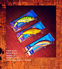 3 Ugly Duckling Jointed Crankbait Wood Musky Pike Walleye Bass Fishing Bait Lure