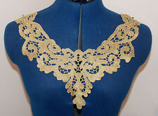 GOLD embroidered patch lace YOKE chest applique motif dress dance costume