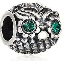 GENUINE 925 STERLING SILVER WISE OWL CHARM BEAD GREEN CRYSTAL EYES