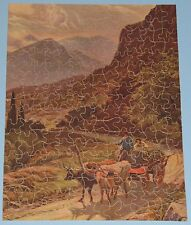 """VTG JIGSAW PUZZLE BIG STAR PERFECT PICTURE """"ROAD IN ALPS"""" OXEN CART MOUNTAIN CIB"""