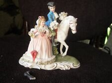 ELEGANT GILDED FIGURINE CAPODIMONTE ? LADY + PARASOL & GENT ON HORSE CHINA LACE