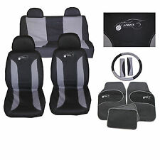 BLACK & GREY CLOTH CAR SEAT COVERS SET STEERING WHEEL GLOVE COVER MATS & PAD 105