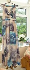 "STUNNING ""H&M"" LONG NUDE, BLUE & GREY FLORAL ROSES COCKTAIL MAXI DRESS Sz 10"