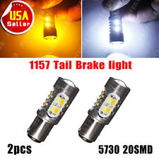 2x 1157 Dual Color Switchback 5730 7000K White/Amber LED Tail Brake Light Bulbs
