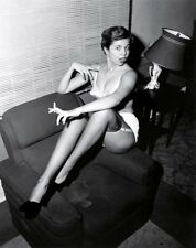 50s pinup in bra panties and garters on chair smoking 8 x 10 Photograph