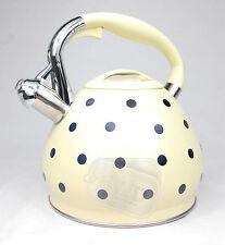 Whistling cream kettle whiseling spotty polka dot gas electric 3.5ltr hob GIFT