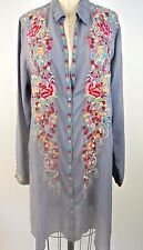 $234.00 JOHNNY WAS TUNIC Top Gray Long Floral Button Down Shirt Dress XL BOHO