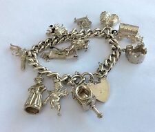 Fabulous Ladies Huge Antique Vintage Solid Silver Charm Bracelet 74.2 Grams