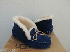 UGG ALENA MIDNIGHT BLUE SHEEPSKIN CUFF MOCCASIN SLIPPERS, US 8/ EUR 39 ~NIB