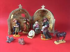 NATIVITY SCENE Figures JESUS JOSEPH MARY 3 WISE MEN STABLE Christmas Decor Relig