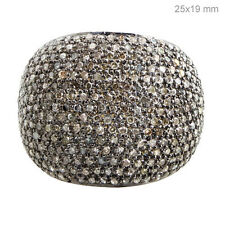 Handmade 1.66 Ct Natural Diamond Pave 925 Sterling Silver Dome Ring Fine Jewelry
