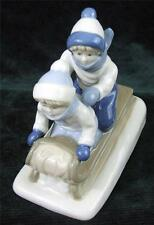PORCELANA DE CUERNAVACA - CHILDREN SLEDDING FIGURINE - 1992
