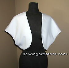 White or Black Satin Bolero Formal Wrap Bridal Shrug Custom Made