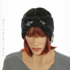 APT. 9 Winter BLACK EAR WARMER Faux GREY CRYSTALS HEADWRAP Crochet Knit HEADBAND