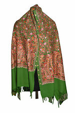 Multi color, Crewel Embroidered Wool Shawl. Kashmir, Ari Embroidery 658