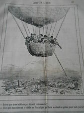 Caricature 1878 Ballon captif en grève pour huit jours ! avant de redescen