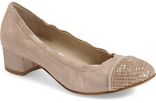 NIB ATTILIO GIUSTI LEOMBRUNI Grace Cap Toe Elasticized Taupe Leather Pump 42/12