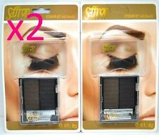 2 X KIT zafferano per sopracciglia Marrone Scuro Nero STAMPINI Make Up Stencil Pennello