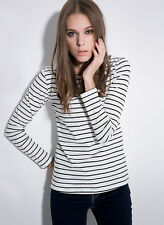 td51N CFLB Women's Cotton Black & White Nautical Sailor Striped Top 10 12 14 16