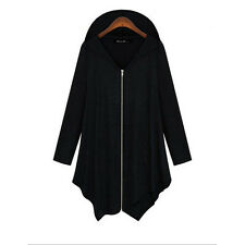 Fashion Women's Zipper Hooded Coat Irregular Hem Warm Winter Jackets  Plus Size