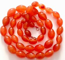 ANTIQUE / VINTAGE GRADUATING CARNELIAN CARVED POLISHED AGATE BEAD NECKLACE 118G