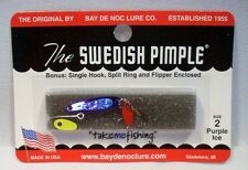Bay De Noc Swedish Pimple Purple Ice Fishing Jig Lure Size 2 1/10oz w/Bonus