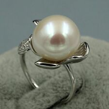 New White Pearl 925 Sterling Silver CZ Cultured Freshwater Adjustable Ring 03698