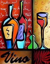 VINO - Modern Contemporary color Abstract POP Art Giclee WINE Print Fidostudio