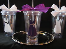 Bridesmaid Personalized acrylic tumbler 16oz w/ lid and straw, bridal party gift