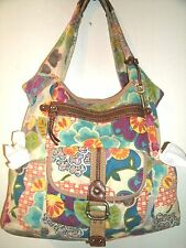 Fossil Lovely Large Multicolor Heavy Canvas Shoulder Bag Lots of Storage VGC!!