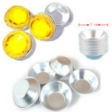 10x Round Aluminum Mold Cake Egg Cup Tart Baking Mould Pudding Pie Maker Tin 7cm