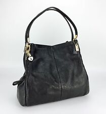 COACH 34291 Madison Phoebe Black Leather 3-compartment Shoulder Bag Purse Tote
