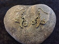 Harley Davidson Motorcycle & Wings Inspired Earrings Sons Of Anarchy Bronze