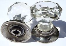 Cut glass mortice sparkling doorknobs chrome base (pairs) vintage classic style