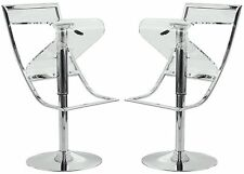 Napoli Transparent Acrylic Bar Counter Stool in Clear, Set of 2