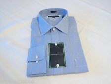 Tommy Hilfiger dress shirt long sleeve royal blue 18 34-35 slim fit stripe Mens