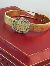 Solid 18k Ladies Omega Watch Full Bracelet With 3+ Carats Of Diamonds