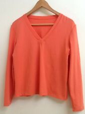 One Girl Who Misses Large Melon Orange V Neck LS Shirt Stretchy Nylon EUC