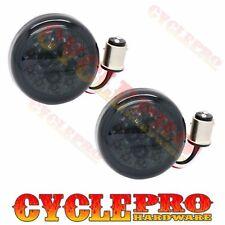 2 Smoke Turn Signal Red LED Lenses for 2000-16 Harley Bullet Dome Style Blinker